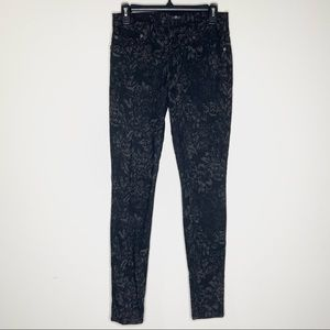 7 For All Mankind | Patterned Black Skinny Jeans
